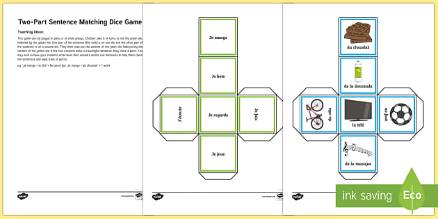 Two part sentence matching game ks2 french resourcesverb ccuart Image collections