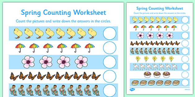 free my counting worksheet spring counting worksheet spring. Black Bedroom Furniture Sets. Home Design Ideas
