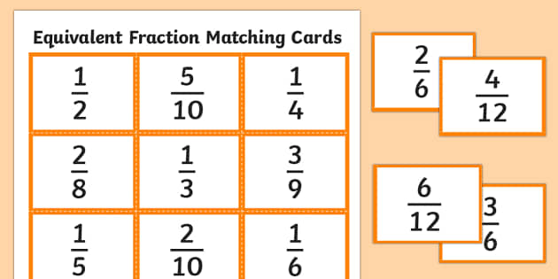 It is a picture of Declarative Equivalent Fractions Games Printable