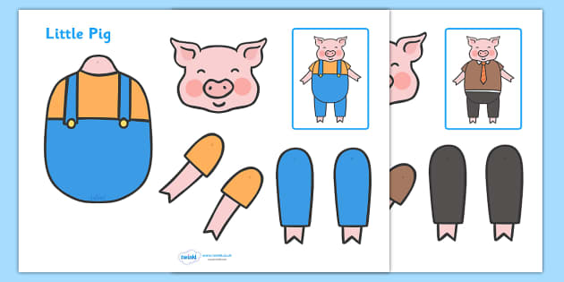 Split pin three little pigs characters three little pigs for The three little pigs puppet templates
