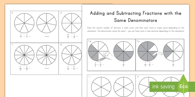 How To Add Fractions With The Same Denominator Activity