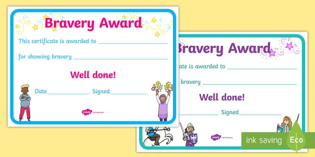 Bravery Certificate Bravery Courage Brave Award Reward
