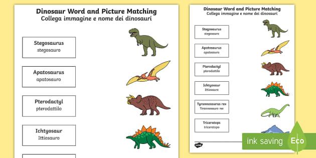 dinosaur word and picture matching worksheet worksheet english italian. Black Bedroom Furniture Sets. Home Design Ideas