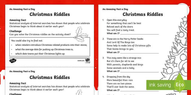 Christmas Riddles Worksheet Activity Sheet