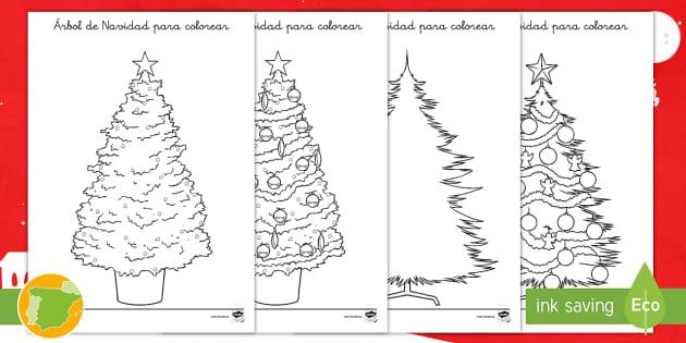Hoja para colorear: Árbol de Navidad - Navidad, natividad