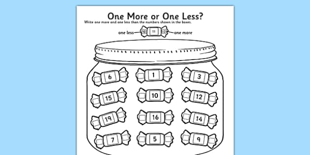One More One Less Sweet Worksheet using numbers up to 20