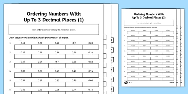 Ordering Numbers With Up To 3 Decimal Places Differentiated