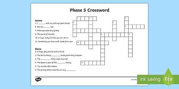 Phase 5 Phonics Crossword Teacher Made