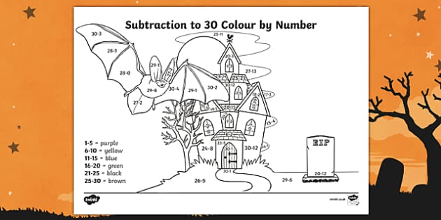 halloween themed subtraction to 30 colour by number - Halloween Colour By Numbers