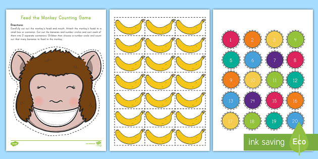 Feed the Monkey Counting Game - Early Childhood Animals