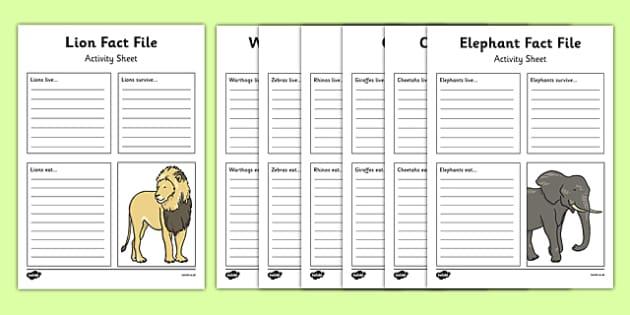African Animals Fact File Worksheet Worksheet