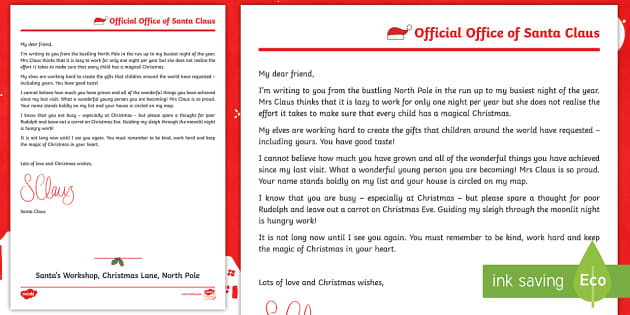 Ks2 A Reply From Santa Letter Writing Christmas