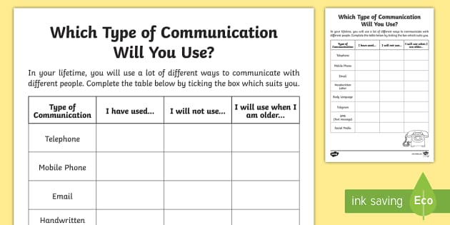 Which Type Of Communication Will You Use Worksheet Activity