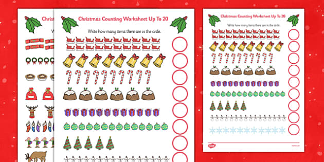 Counting At Christmas Worksheet Up To 20