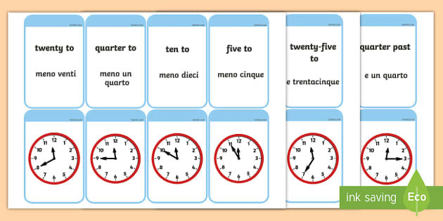 Telling The Time Matching Flashcards English Italian