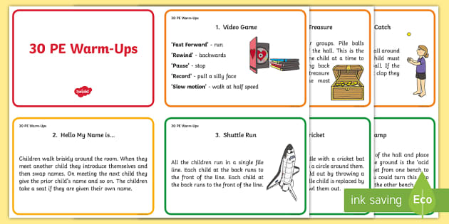 30 Warm Up Ideas For Pe Cards Pe Warm Up Activities Ideas