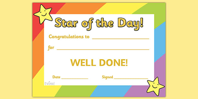 Certificates awards printable certificates for page 1 star of the day award certificate yadclub