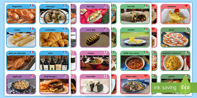 Food from around the World Cards - Teaching Resources
