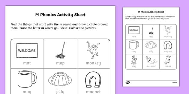 m phonics worksheet activity sheet irish worksheet. Black Bedroom Furniture Sets. Home Design Ideas
