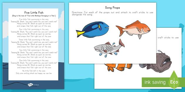 Five little fish props and song lyrics habitats habitat for Little fish song
