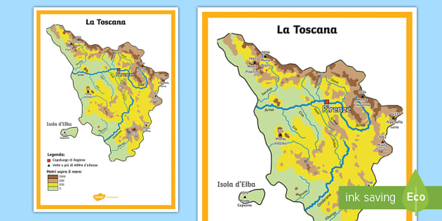 La Toscana Cartina Fisica.La Toscana Scuola Primaria Cartina Fisica Teacher Made