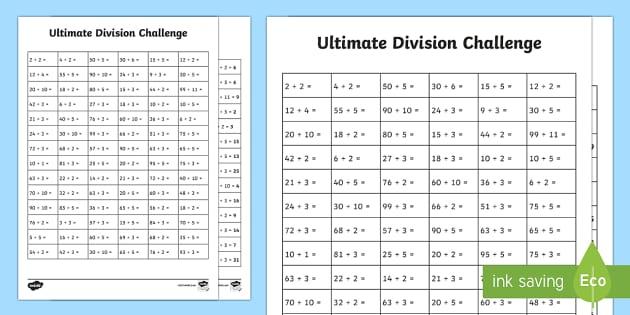 ks1 ultimate division challenge worksheet worksheet