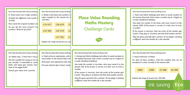 Maths Mastery Rounding Year 6 Challenge Cards