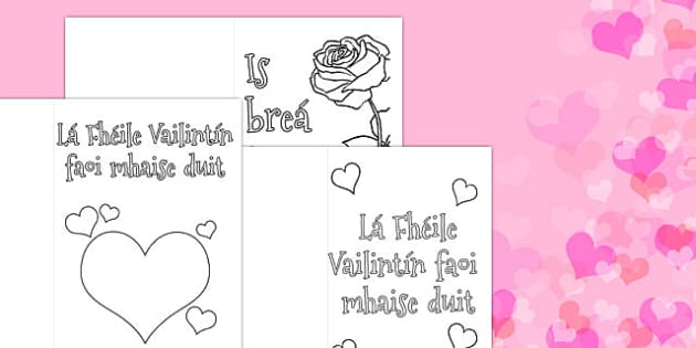 Valentines Day Card Colouring Templates Gaeilge  gaeilge