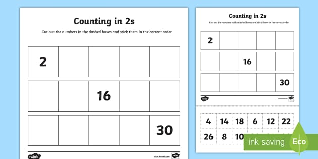 counting in 2s cut and stick worksheet activity sheet. Black Bedroom Furniture Sets. Home Design Ideas