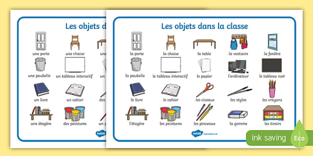 What Are The French Words For Objects In A Classroom