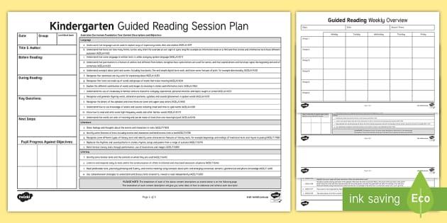 Kindergarten Australian Curriculum Guided Reading Session ...