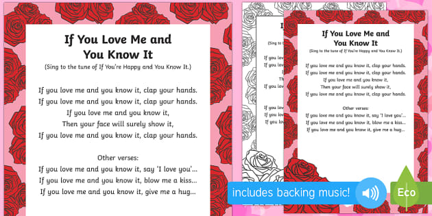 If You Love Me and You Know It Song - Valentine's day, love, hearts
