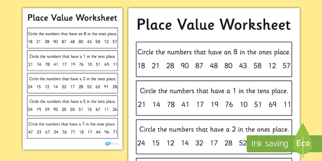 place value worksheet activity sheet 2 digits place value. Black Bedroom Furniture Sets. Home Design Ideas