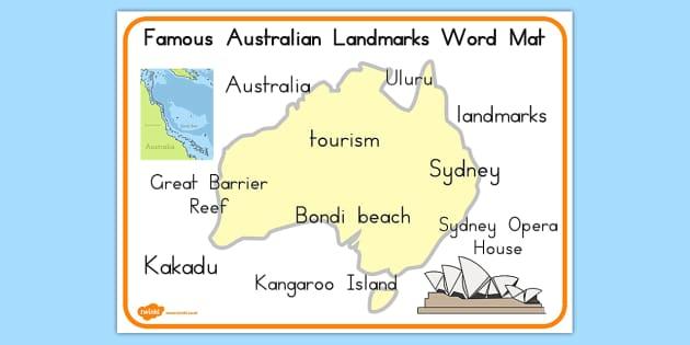 Australia Word Map.Famous Australian Landmarks Word Mat Australia Landmarks