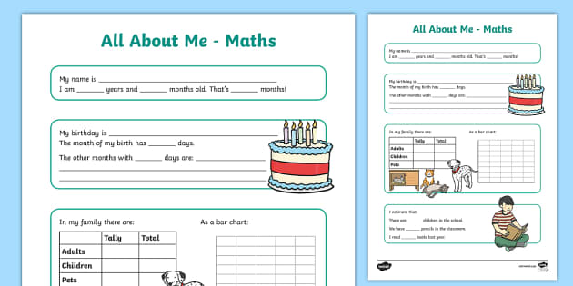 All About Me Maths Display Poster Worksheet Year 34 all about – All About Me Worksheets