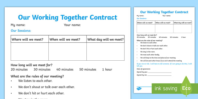 Our Working Together Contract Young People Families Case File