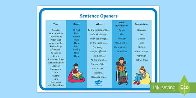 sentence openers mat
