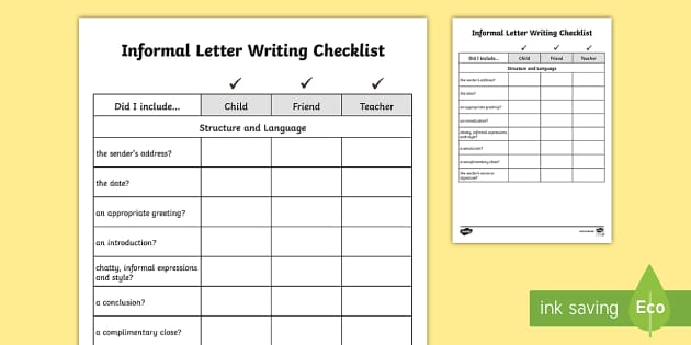 features of an informal letter y3 y4 informal letter writing checklist requests ks2 12181
