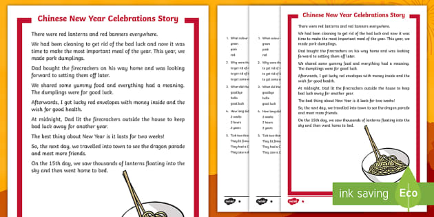 KS1 Chinese New Year Celebrations Story Differentiated ...