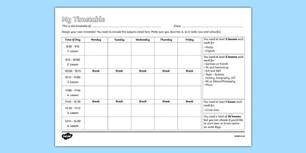 design your own school timetable worksheet activity sheet. Black Bedroom Furniture Sets. Home Design Ideas