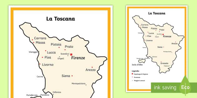 Cartina Politica Della Toscana Dettagliata.Scuola Primaria La Toscana Cartina Politica Teacher Made