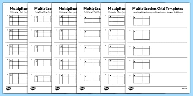 blank multiplication grid templates multiplication grid method ks2 key. Black Bedroom Furniture Sets. Home Design Ideas