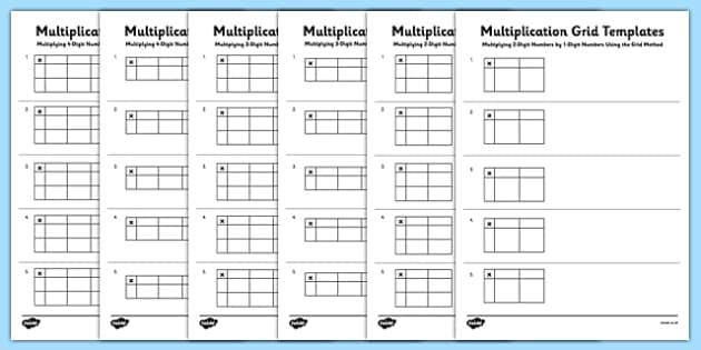 blank multiplication grid templates multiplication grid method ks2 key. Black Bedroom Furniture Sets. Home Design Ideas