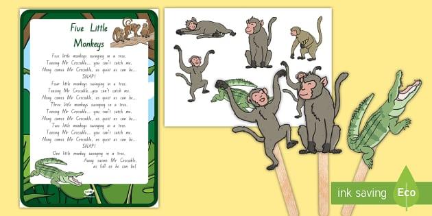 Five Little Monkeys Swinging In A Tree Story Cut Outs