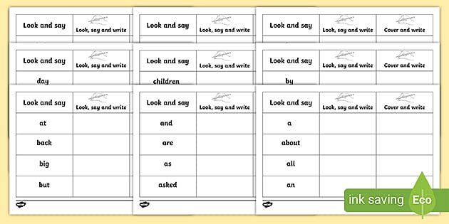High Frequency Sight Words Practice Worksheets - Twinkl