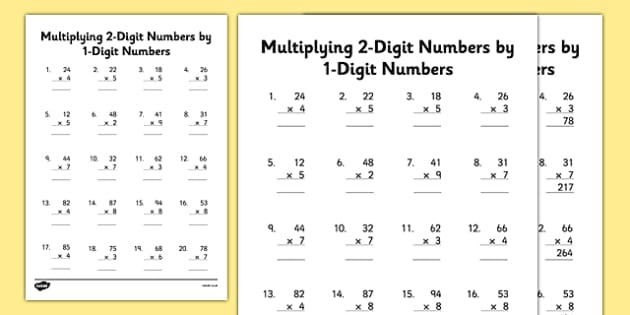 Multiplying 2 Digit Numbers By 1 Digit Numbers Worksheet