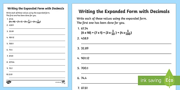 Expanded Form Worksheet Math Teaching Resources Twinkl