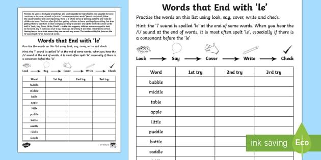 year 2 spelling practice l sound spelt 39 le 39 homework worksheet. Black Bedroom Furniture Sets. Home Design Ideas