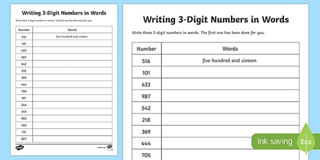 place value writing 3 digit numbers in words worksheet worksheet scottish. Black Bedroom Furniture Sets. Home Design Ideas