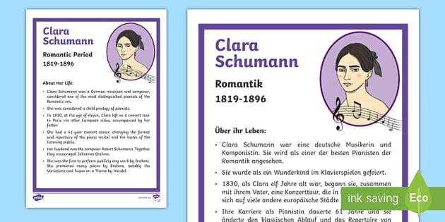 NEW * Clara Schumann Composer Fact File English/German